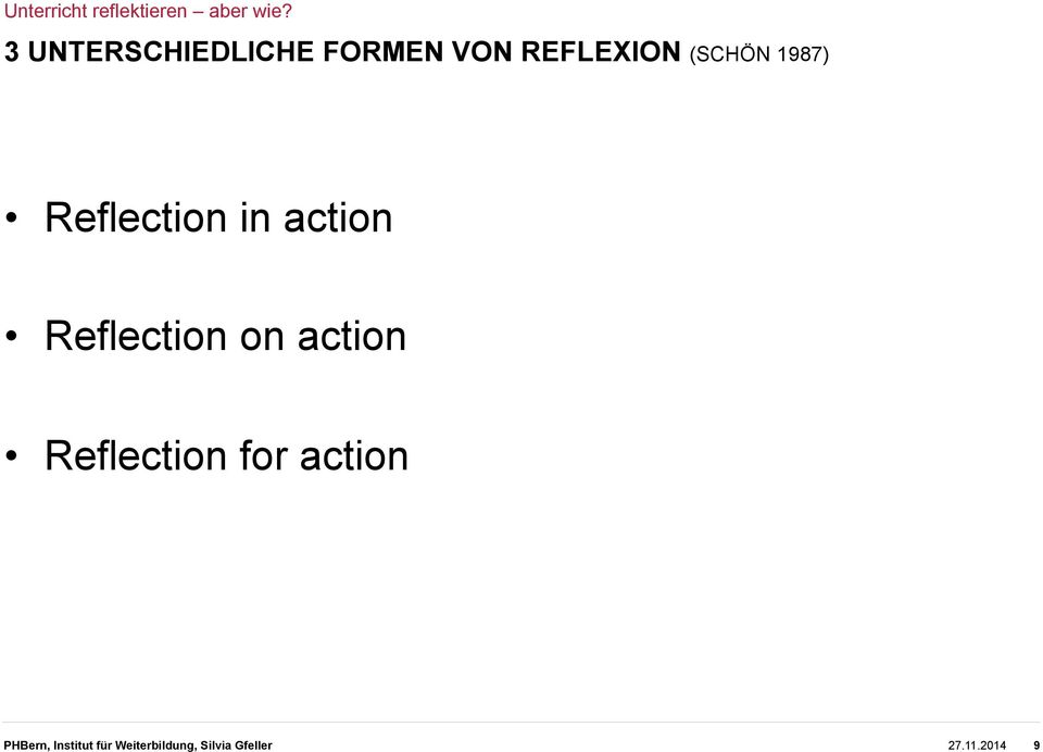 on action Reflection for action PHBern,