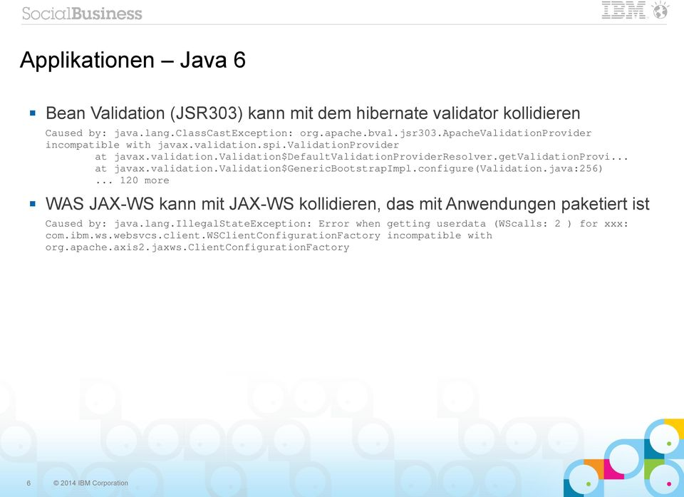 configure(validation.java:256)... 120 more WAS JAX-WS kann mit JAX-WS kollidieren, das mit Anwendungen paketiert ist Caused by: java.lang.