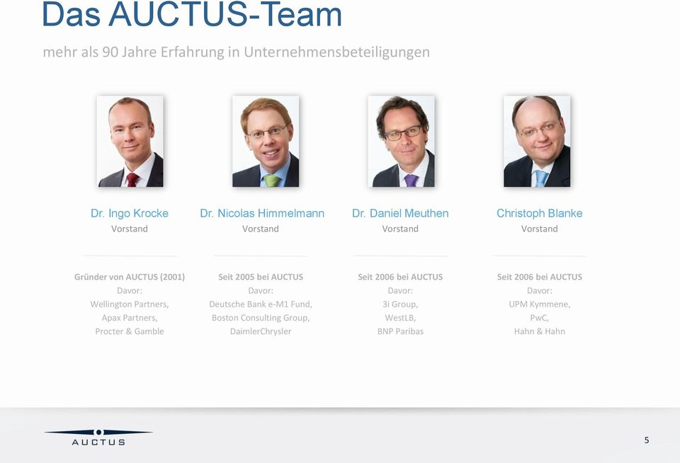 Partners, Apax Partners, Procter & Gamble Seit 2005 bei AUCTUS Davor: Deutsche Bank e-m1 Fund, Boston Consulting Group,
