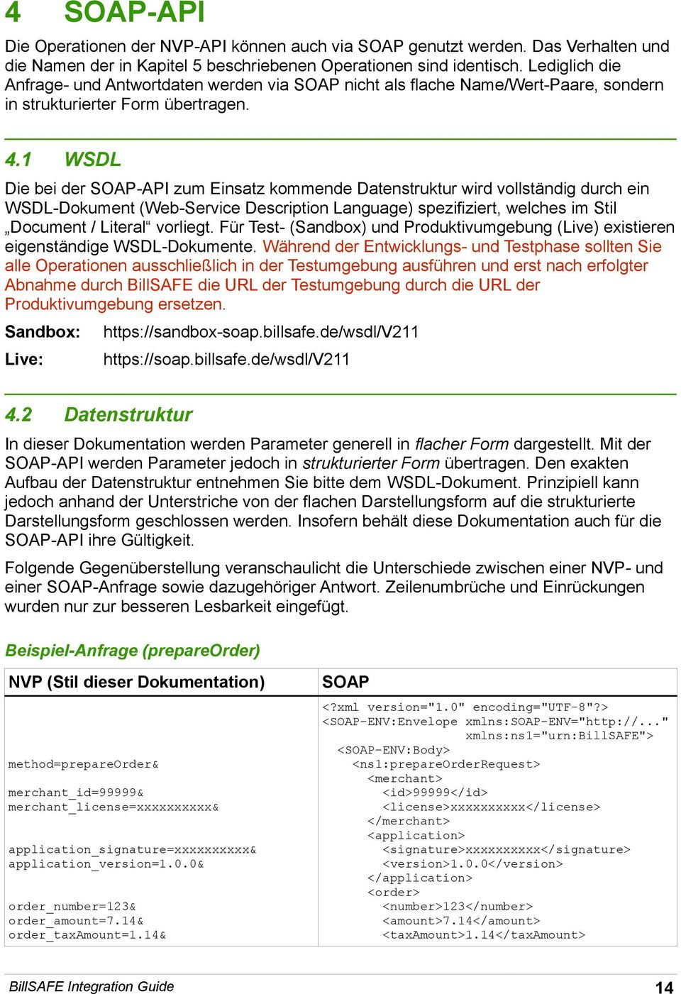 1 WSDL Die bei der SOAP-API zum Einsatz kommende Datenstruktur wird vollständig durch ein WSDL-Dokument (Web-Service Description Language) spezifiziert, welches im Stil Document / Literal vorliegt.