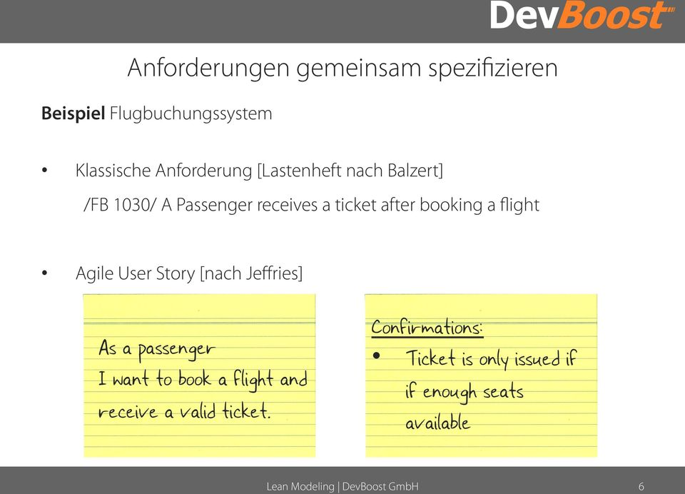 booking a flight Agile User Story [nach Jeffries] As a passenger I want to book a
