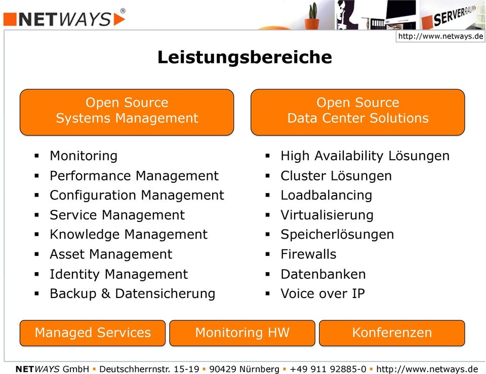 ! Asset Management!! Identity Management!! Backup & Datensicherung!! High Availability Lösungen!