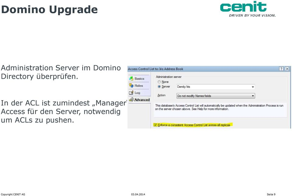 In der ACL ist zumindest Manager Access