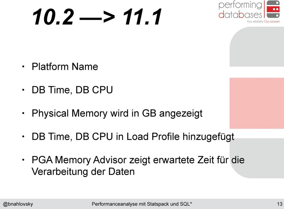 wird in GB angezeigt DB Time, DB CPU in Load