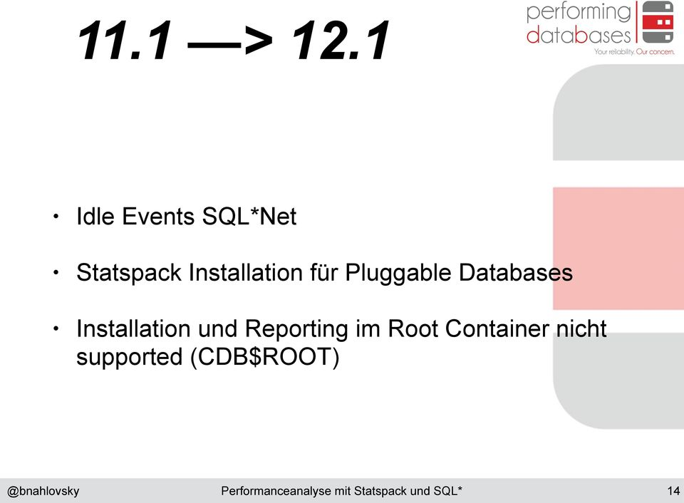 Installation für Pluggable Databases