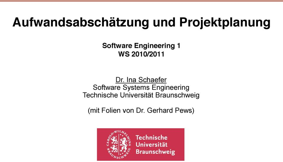 Ina Schaefer Software Systems Engineering