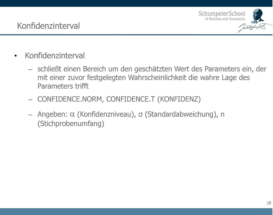 die wahre Lage des Parameters trifft CONFIDENCE.NORM, CONFIDENCE.