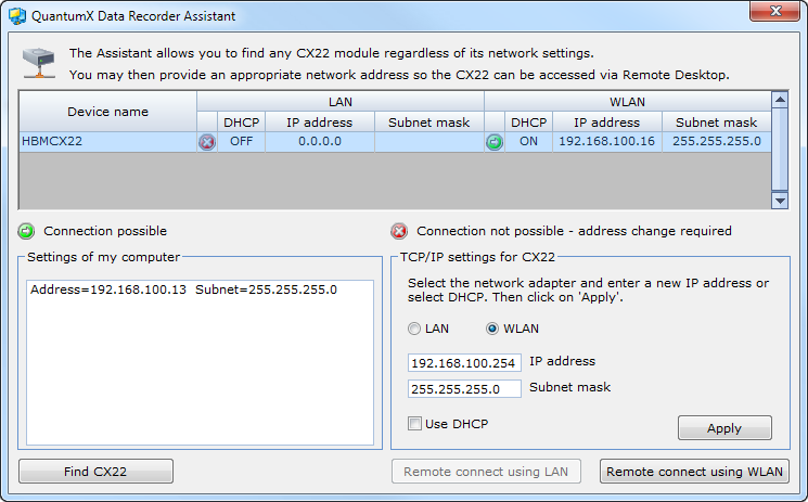 QuantumX Data Recorder CX22 W 25 Fig. 6.2: Display in QuantumX Data Recorder Assistant after a network search (WLAN example) 4. Select the CX22 W in the top list. 5.