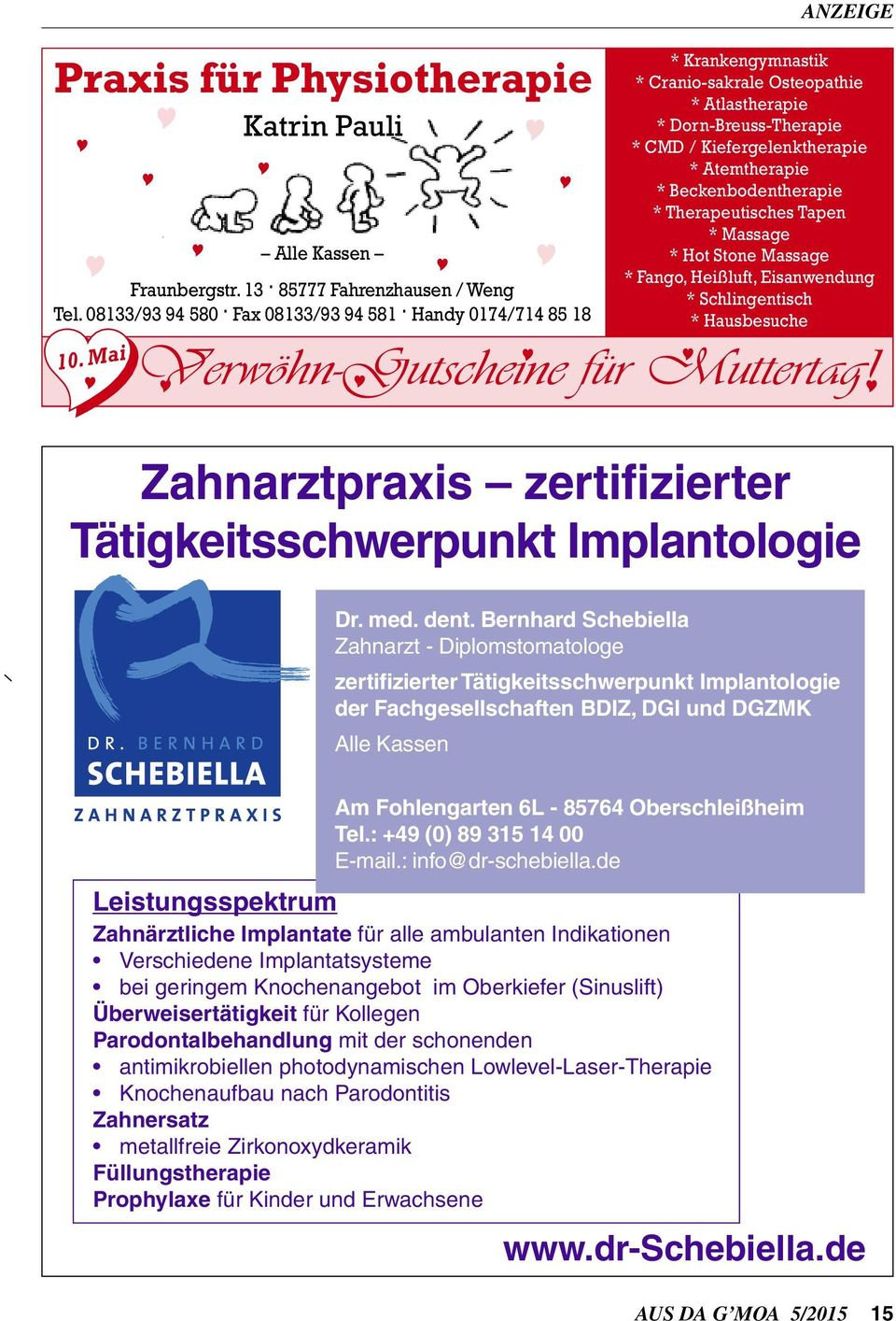 Osteopathie * Atlastherapie * Dorn-Breuss-Therapie * CMD / Kiefergelenktherapie * Atemtherapie * Beckenbodentherapie * Therapeutisches Tapen * Massage * Hot Stone Massage * Fango, Heißluft,