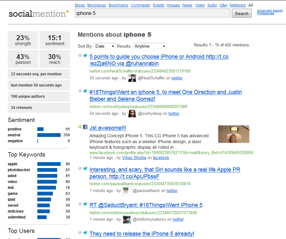 Monitoring Tools 17 3.1.5 Socialmention.com Abbildung 8: socialmention.