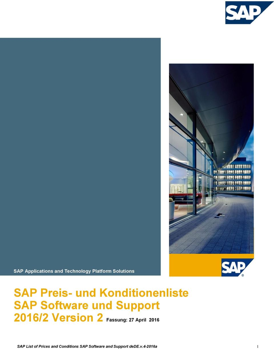 2016/2 Version 2 Fassung: 27 April 2016 SAP List of
