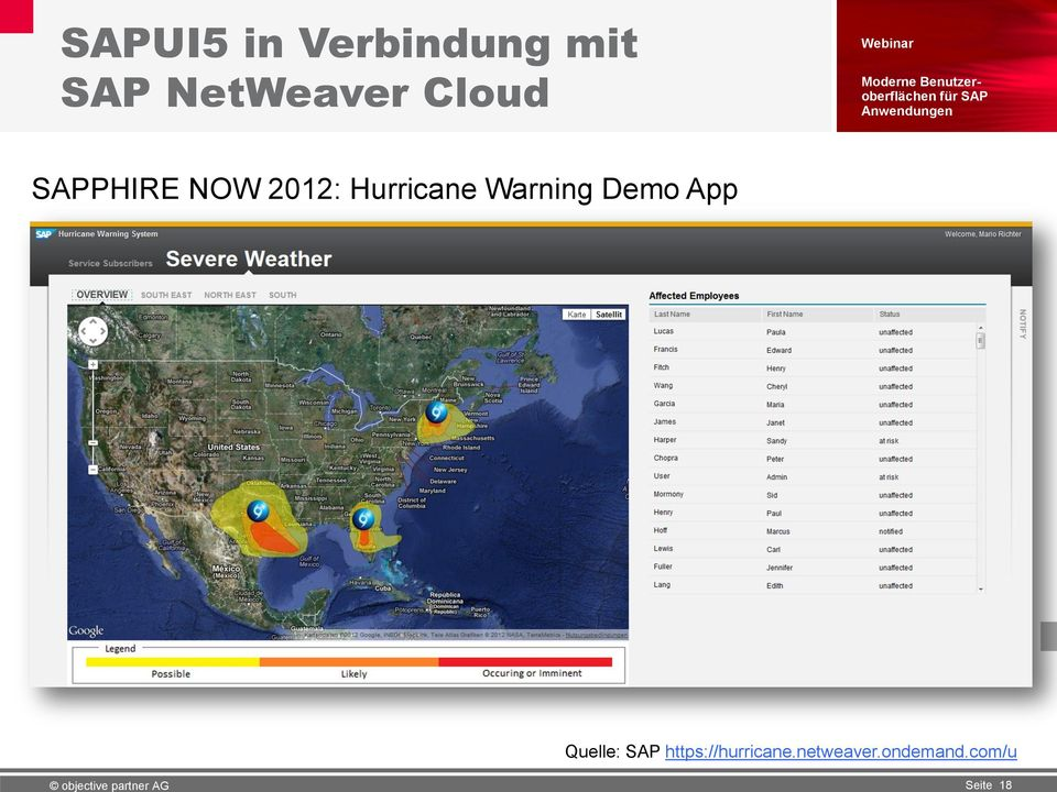 Hurricane Warning Demo App Quelle: SAP