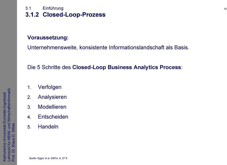 Die 5 Schritte des Closed-Loop Business Analytics Process: 1.