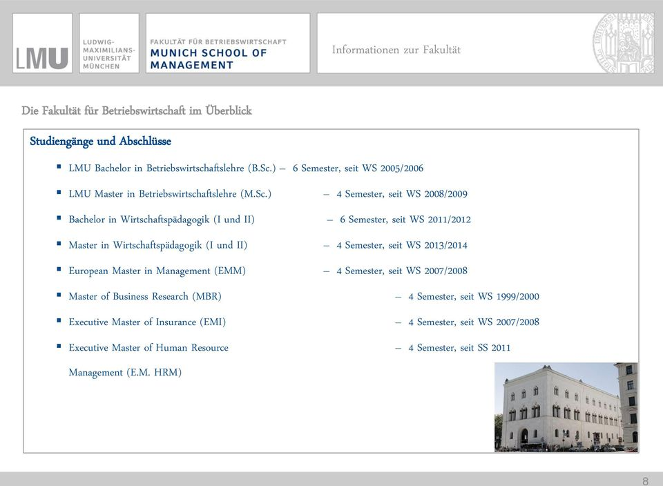 ) 4 Semester, seit WS 2008/2009 Bachelor in Wirtschaftspädagogik (I und II) 6 Semester, seit WS 2011/2012 Master in Wirtschaftspädagogik (I und II) 4 Semester, seit WS