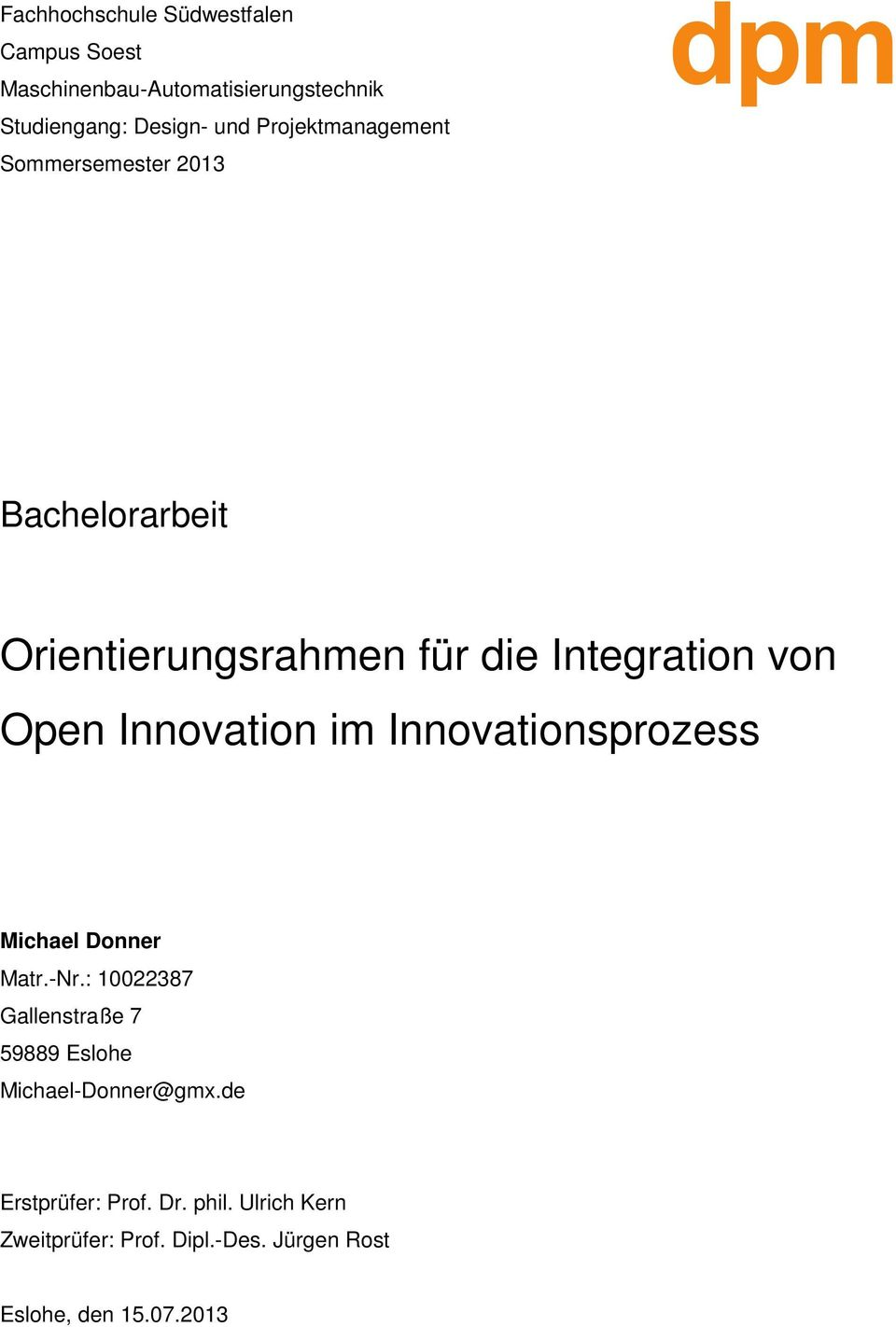 Innovation im Innovationsprozess Michael Donner Matr.-Nr.