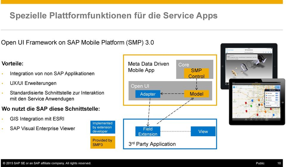 Wo nutzt die SAP diese Schnittstelle: Meta Data Driven Mobile App Open UI Adapter Core SMP Control Model GIS Integration mit ESRI SAP Visual