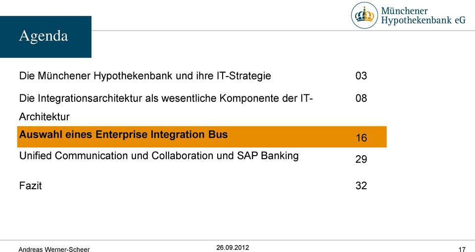 Architektur 08 Auswahl eines Enterprise Integration Bus 16 Unified