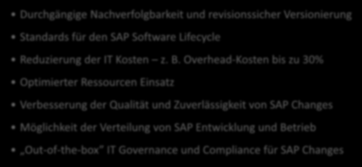 Conigma CCM - Zusammenfassung - Durchgängige Nachverfolgbarkeit und revisionssicher Versionierung Standards für den SAP Software Lifecycle Reduzierung der IT Kosten z. B.