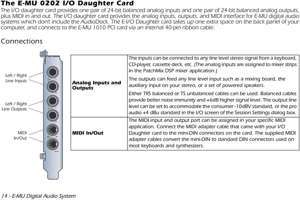 The E-I/O Daughter card takes up one extra space on the back panel of your computer, and connects to the E-MU 1010 PCI card via an internal 40-pin ribbon cable.