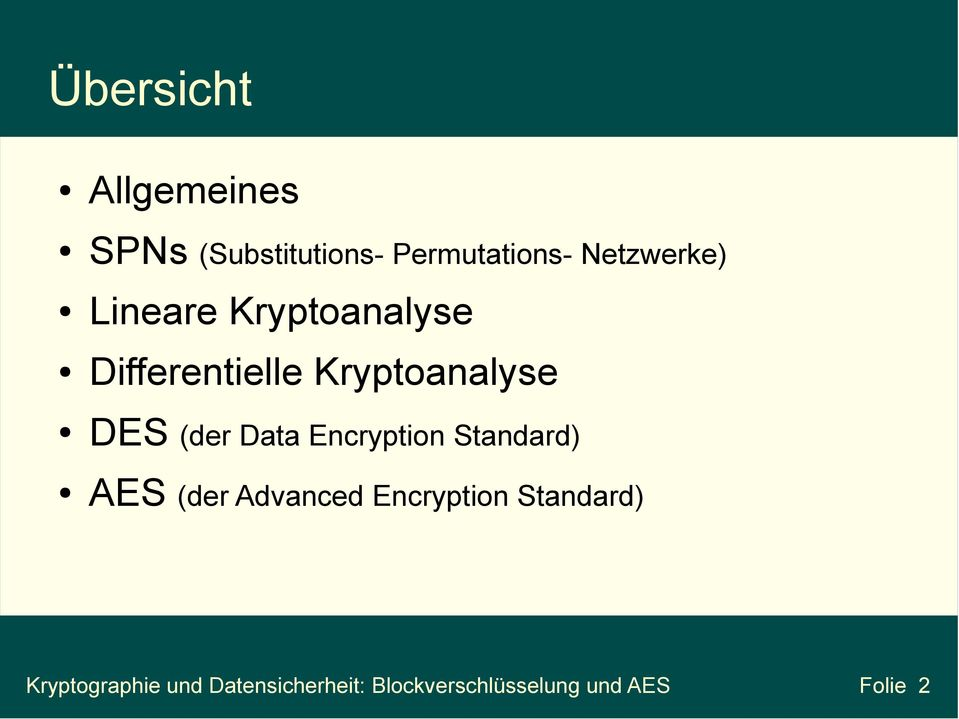 (der Data Encryption Standard) AES (der Advanced Encryption