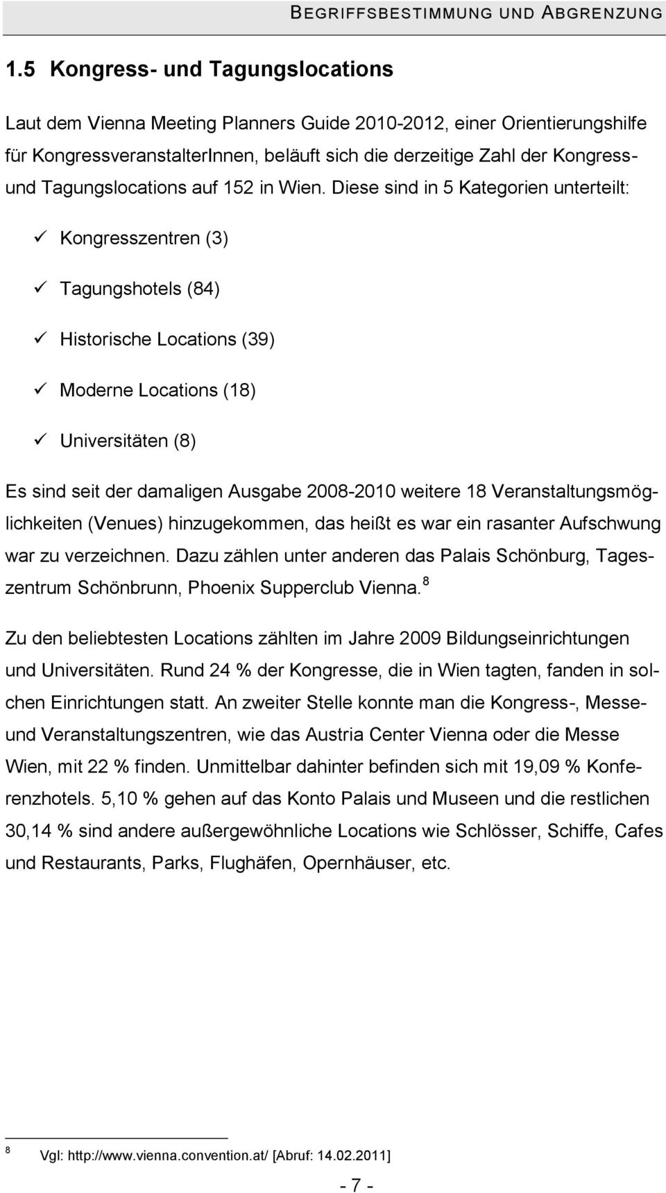 Tagungslocations auf 152 in Wien.