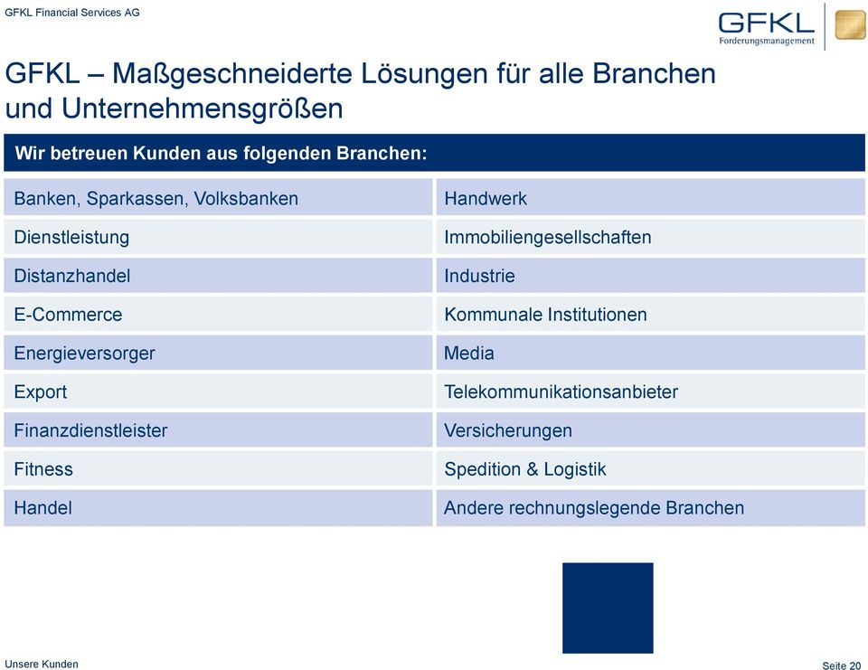Finanzdienstleister Fitness Handel Handwerk Immobiliengesellschaften Industrie Kommunale Institutionen Media