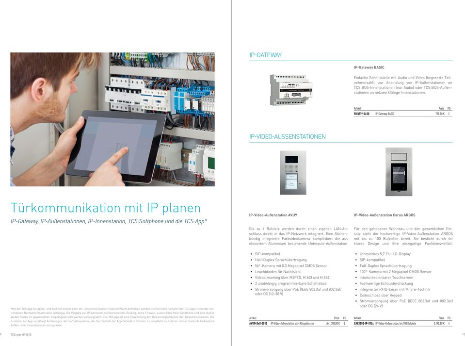 FBI6119-0400 IP-Gateway BASIC 790,00 2 IP-VIDEO-AUSSENSTATIONEN Türkommunikation mit IP planen IP-Gateway, IP-Außenstationen, IP-Innenstation, TCS:Softphone und die TCS:App* IP-Video-Außenstation