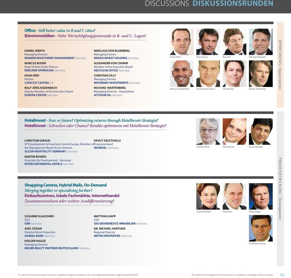 Executive Board EUROPA CENTER Germany NIKOLAUS VON BLOMBERG Managing Partner INDIGO INVEST HOLDING Germany ALEXANDER VON CRAMM Member of the Executive Board DEUTSCHE OFFICE Germany CHRISTIAN ZILLY