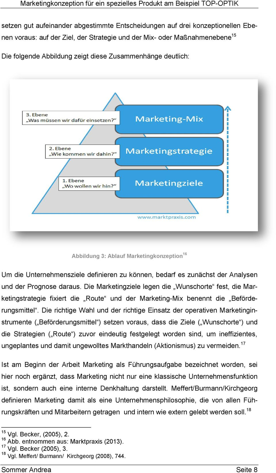 Die Marketingziele legen die Wunschorte fest, die Marketingstrategie fixiert die Route und der Marketing-Mix benennt die Beförderungsmittel.