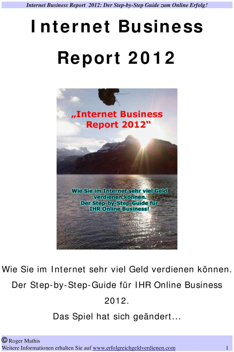 Der Step-by-Step-Guide für IHR Online Business 2012.