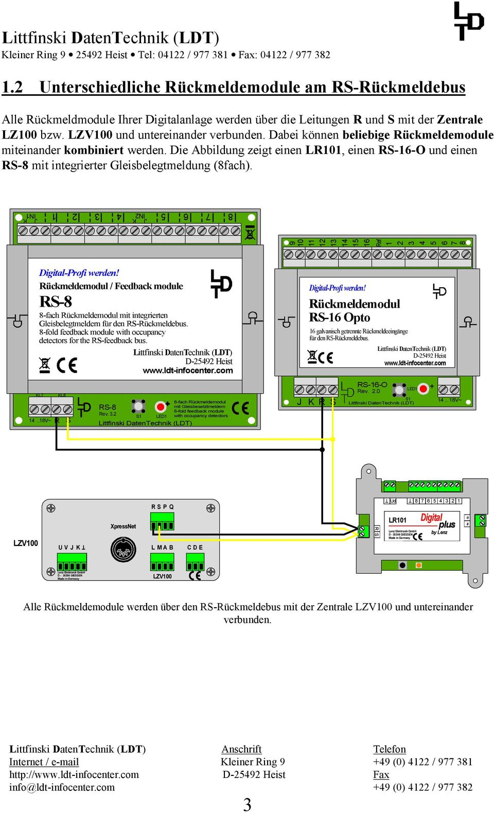 K IN IN K 0 / Feedback module RS- -fach mit integrierten Gleisbelegtmeldern -fold feedback module with occupancy detectors for the RS-feedback bus. KL..V~ KL R S -fach RS- mit Gleisbesetztmeldern Rev.