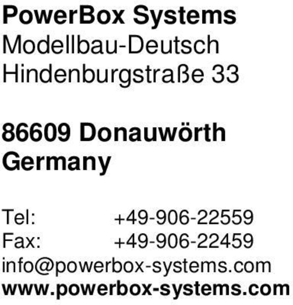 Germany Tel: +49-906-22559 Fax: