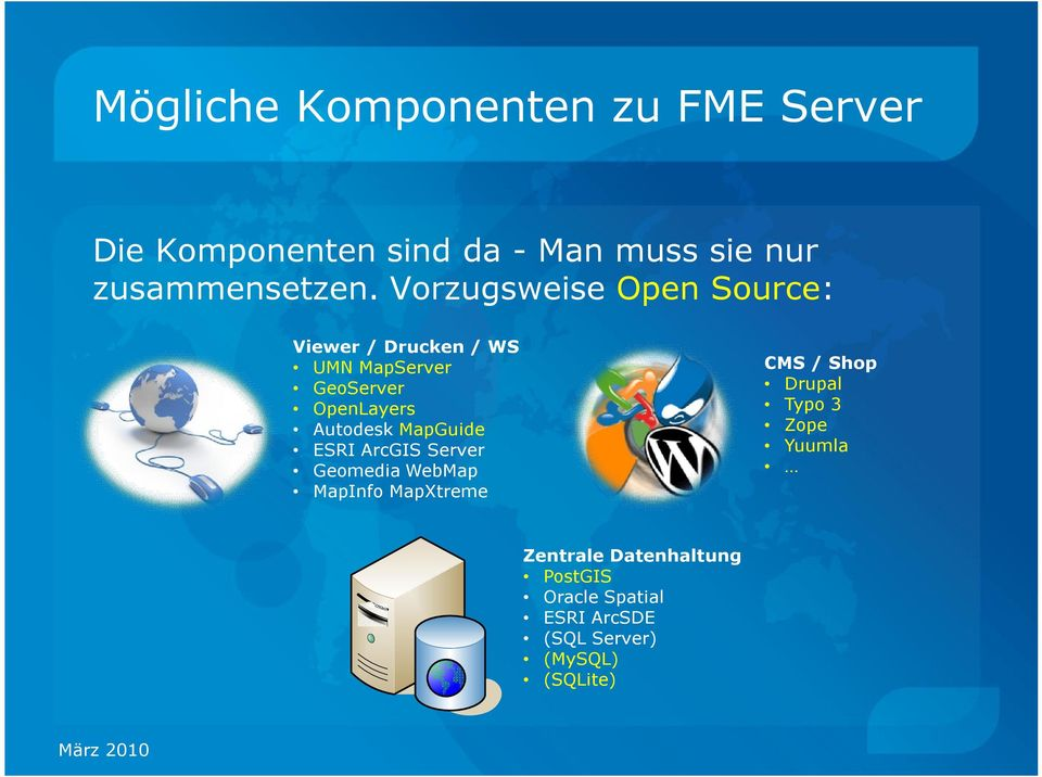 MapGuide ESRI ArcGIS Server Geomedia WebMap MapInfo MapXtreme CMS / Shop Drupal Typo 3 Zope