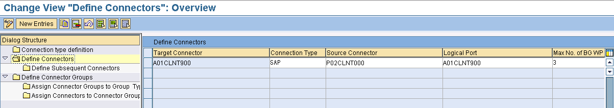 Make sure that SAP is listed as a connection type in Connection typ definition menu 5.