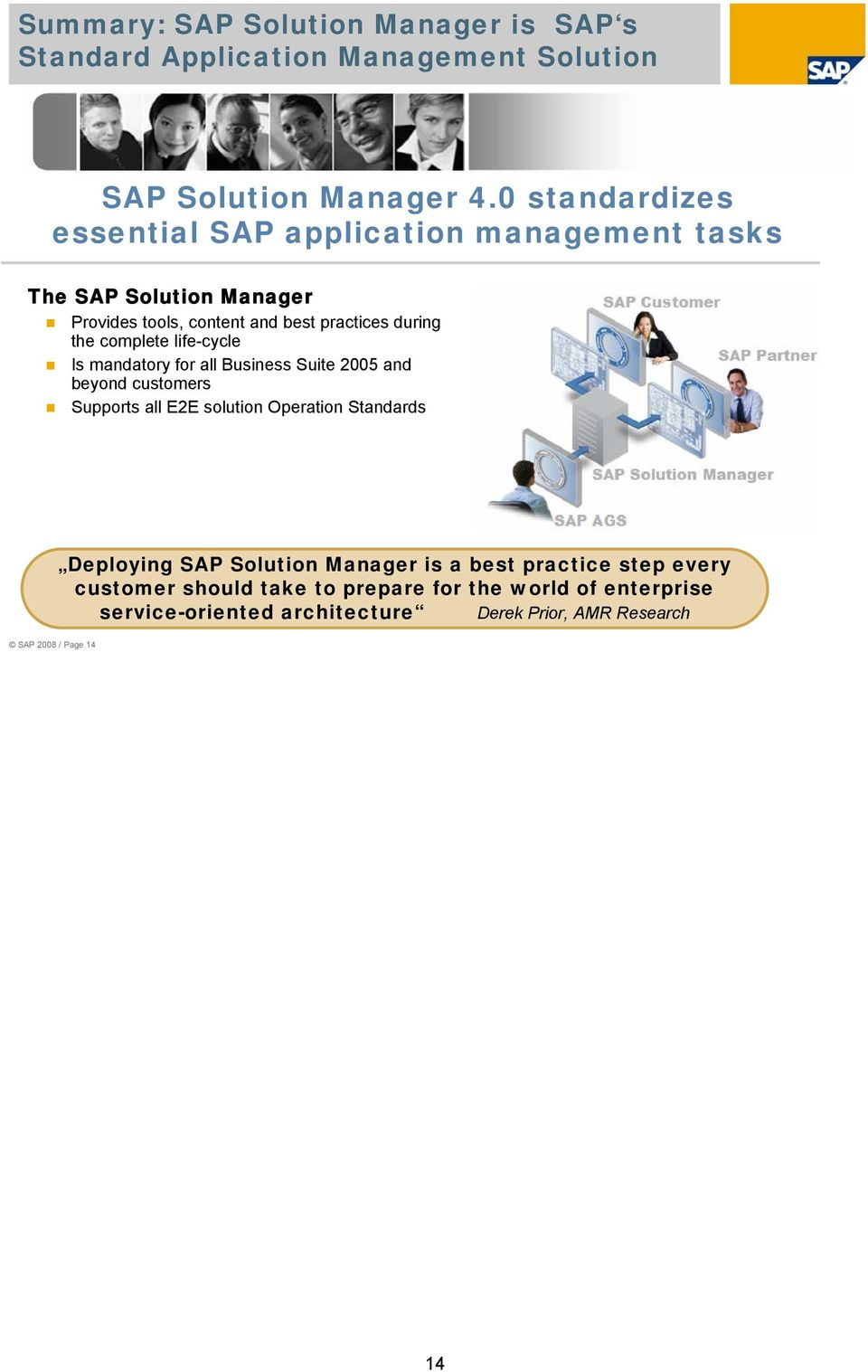 complete life-cycle Is mandatory for all Business Suite 2005 and beyond customers Supports all E2E solution Operation Standards SAP 2008 /