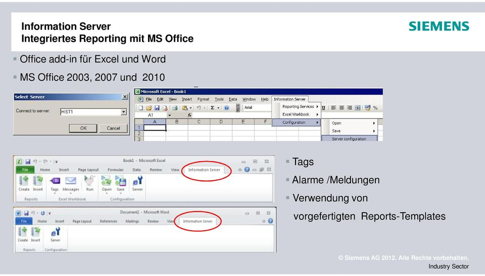 Office 2003, 2007 und 2010 Tags Alarme