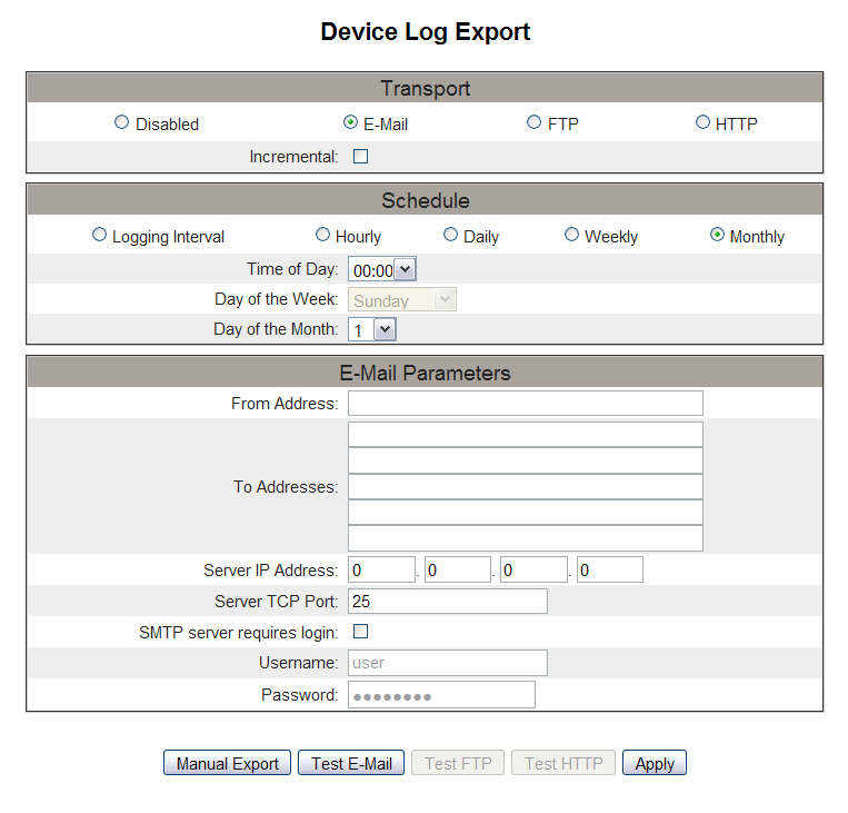 PowerLogic TM Ethernet Gateway EGX300 63230-319-216B3 Setup 03/2013 Figure 15: Device Log Export Page - E-mail FTP Export Action Result 1.