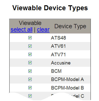 PowerLogic TM Ethernet Gateway EGX300 63230-319-216B3 Setup 03/2013 Figure 27: Viewable Device Types Page Audit Trail The Audit trail is a time-stamped sequence of records or messages.