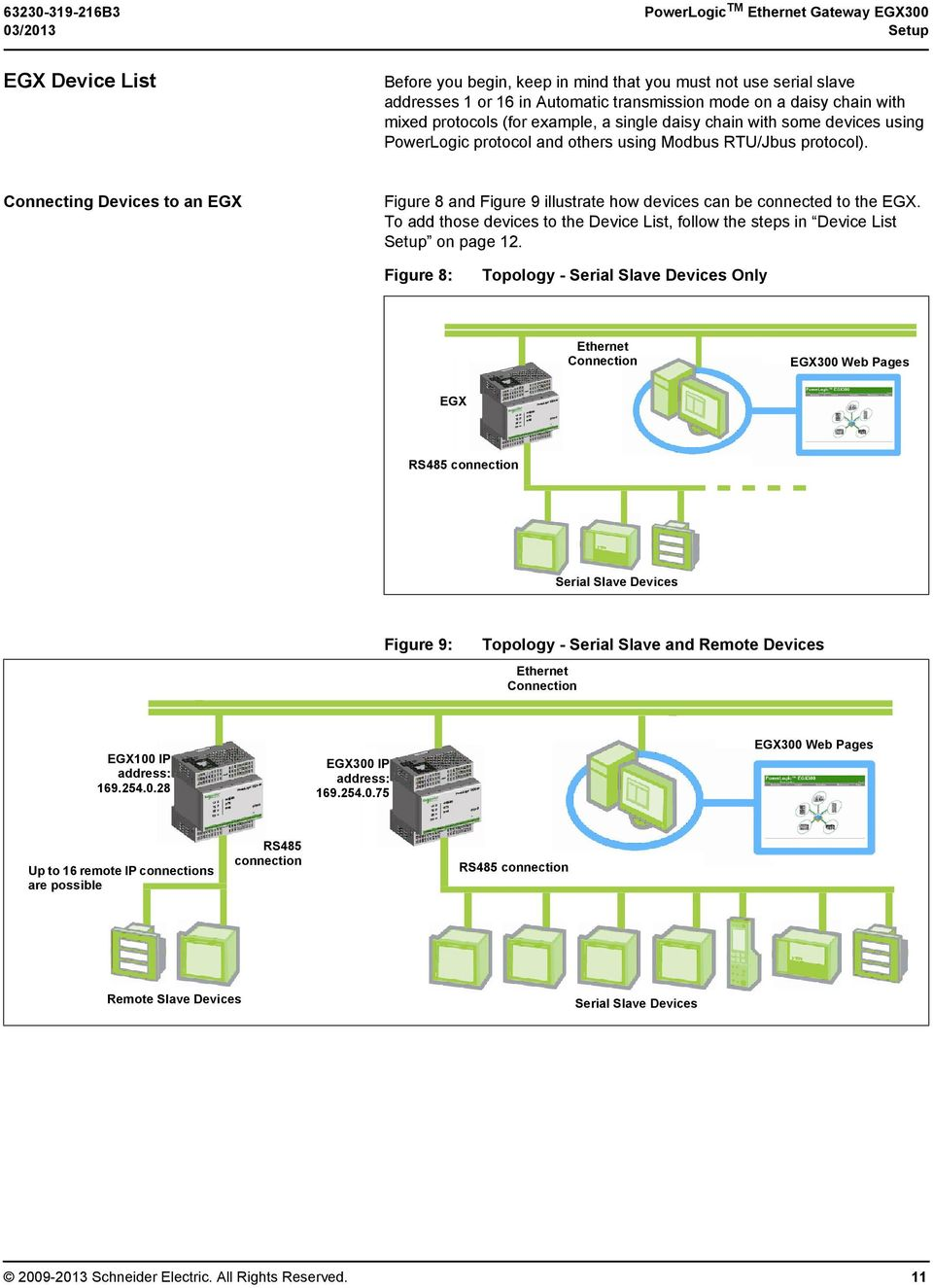 Connecting Devices to an EGX Figure 8 and Figure 9 illustrate how devices can be connected to the EGX. To add those devices to the Device List, follow the steps in Device List Setup on page 12.