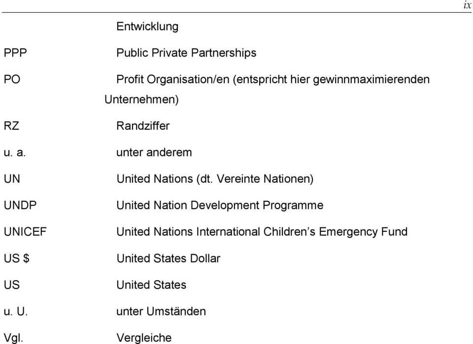unter anderem UN UNDP UNICEF US $ US United Nations (dt.