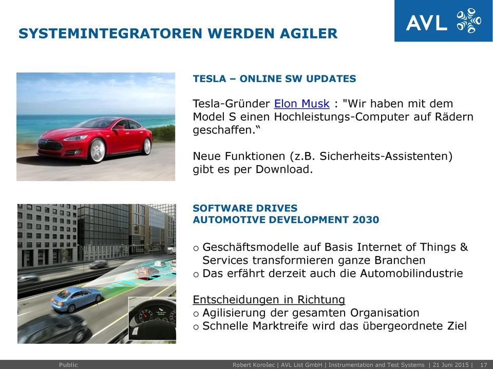 SOFTWARE DRIVES AUTOMOTIVE DEVELOPMENT 2030 o Geschäftsmodelle auf Basis Internet of Things & Services transformieren ganze Branchen o Das erfährt