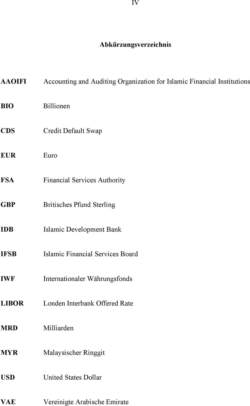 Islamic Development Bank IFSB Islamic Financial Services Board IWF Internationaler Währungsfonds LIBOR Londen