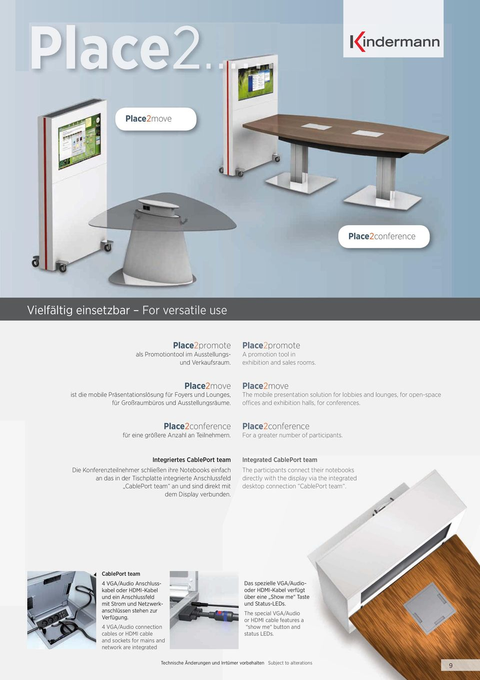 Place2move The mobile presentation solution for lobbies and lounges, for open-space offices and exhibition halls, for conferences. Place2conference für eine größere Anzahl an Teilnehmern.