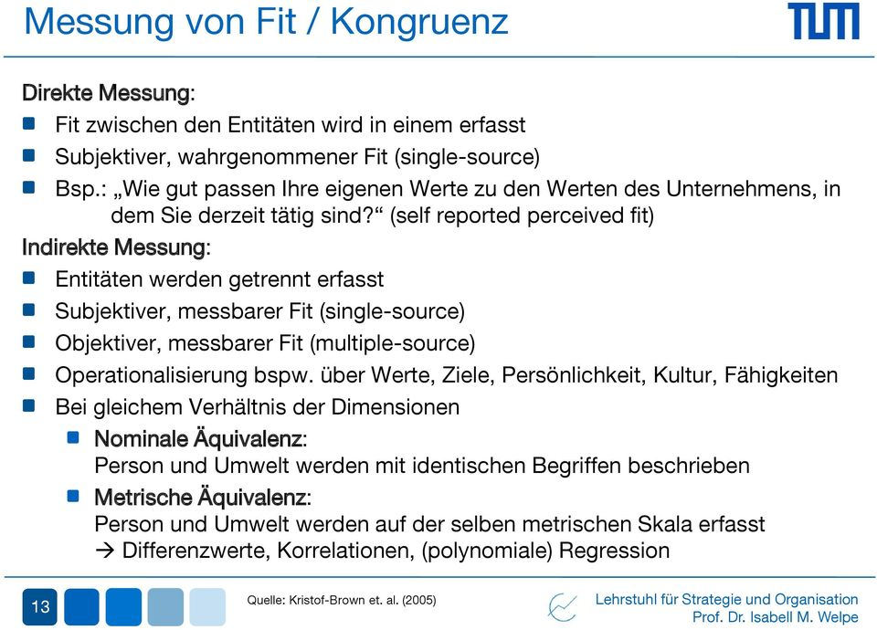 (self reported perceived fit) Indirekte Messung: Entitäten werden getrennt erfasst Subjektiver, messbarer Fit (single-source) Objektiver, messbarer Fit (multiple-source) Operationalisierung bspw.