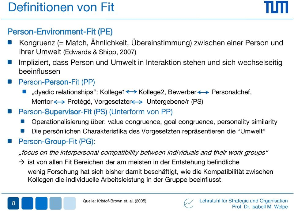 Person-Supervisor-Fit (PS) (Unterform von PP) Operationalisierung über: value congruence, goal congruence, personality similarity Die persönlichen Charakteristika des Vorgesetzten repräsentieren die