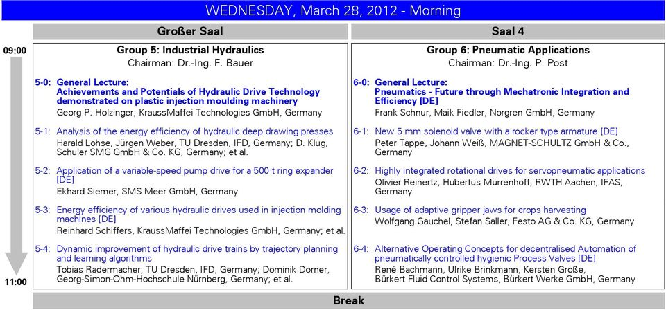 Holzinger, KraussMaffei Technologies GmbH, Germany 5-1: Analysis of the energy efficiency of hydraulic deep drawing presses Harald Lohse, Jürgen Weber, TU Dresden, IFD, Germany; D.