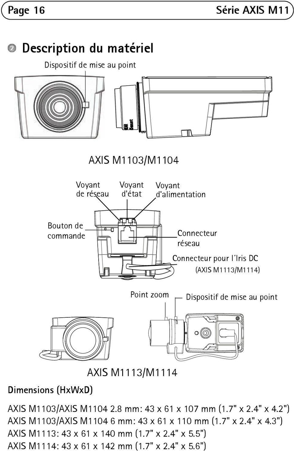 "point AXIS M1113/M1114 Dimensions (HxWxD) AXIS M1103/AXIS M1104 2.8 mm: 43 x 61 x 107 mm (1.7"" x 2.4"" x 4."