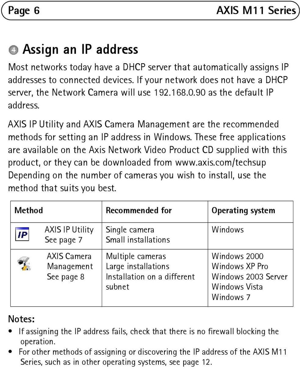 AXIS IP Utility and AXIS Camera Management are the recommended methods for setting an IP address in Windows.