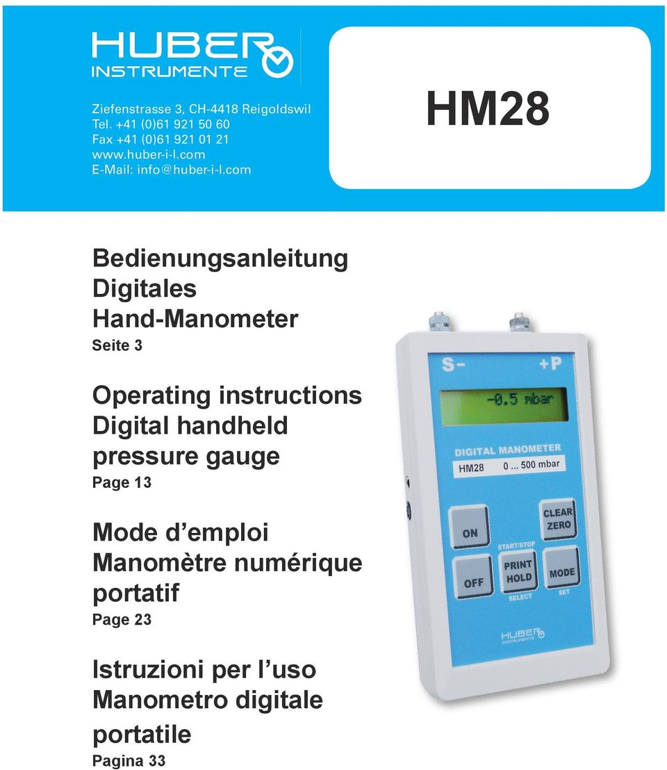 com HM28 Bedienungsanleitung Digitales Hand-Manometer Seite 3 Operating instructions