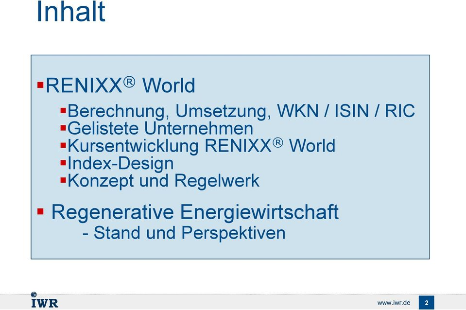 World Index-Design Konzept und Regelwerk Regenerative